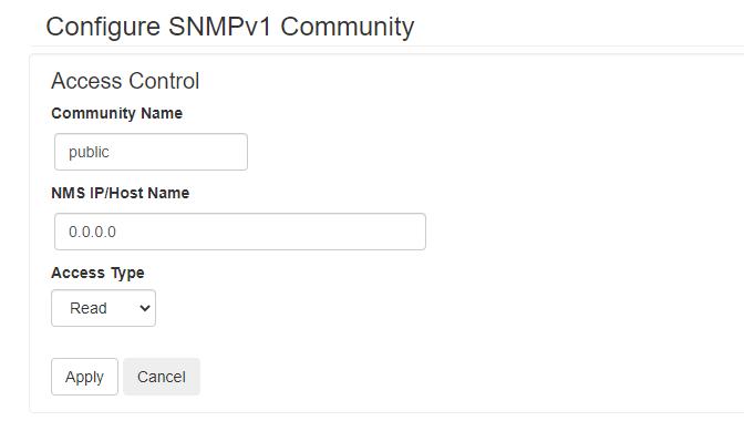 apc SNMPV1 Settings